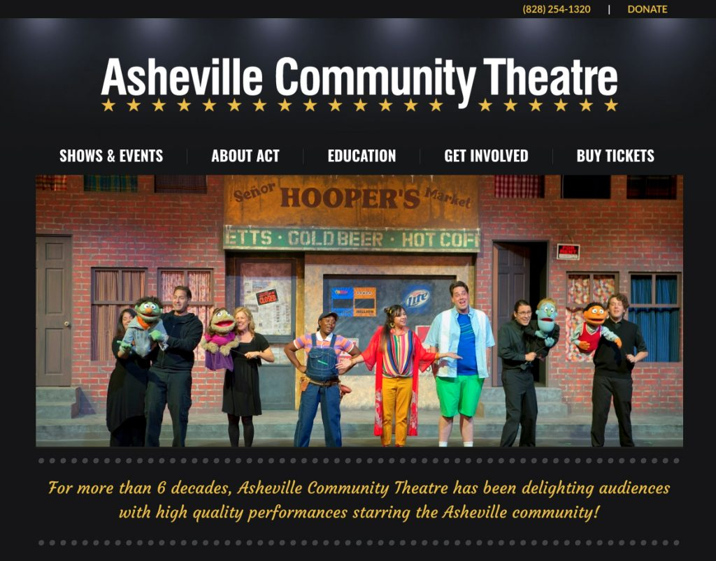 Custom website design and website development for Asheville Community Theatre