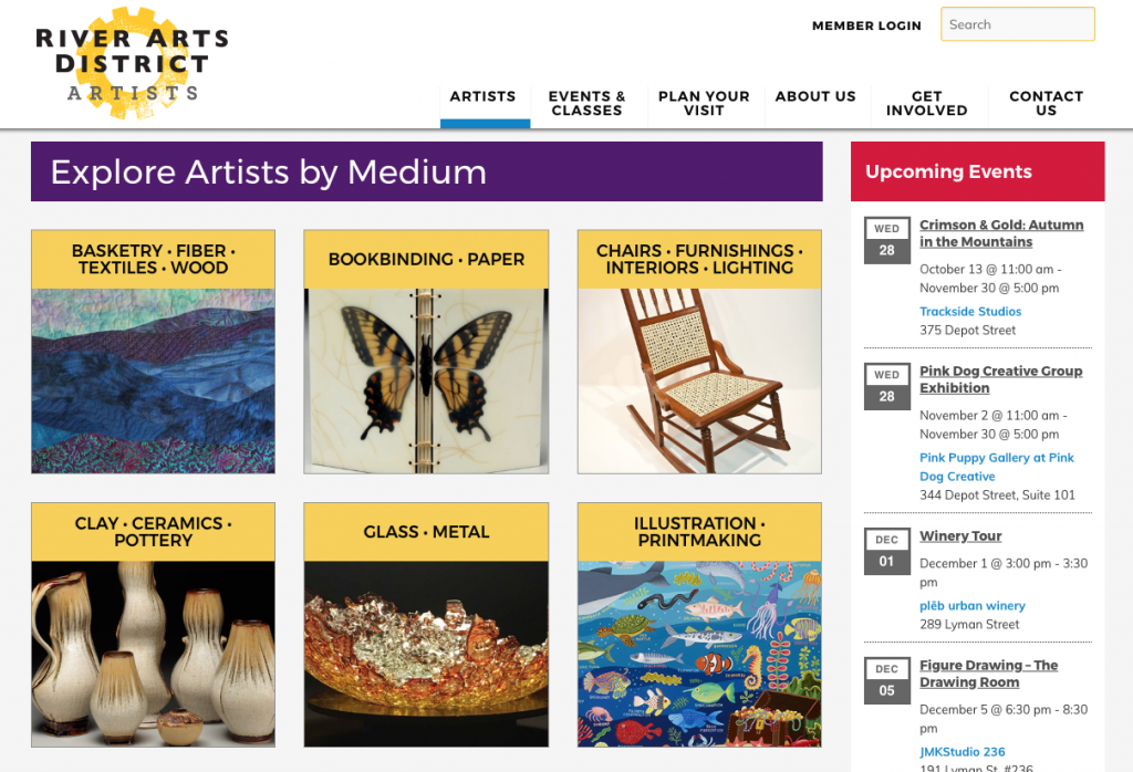 River Arts District Asheville website design and development