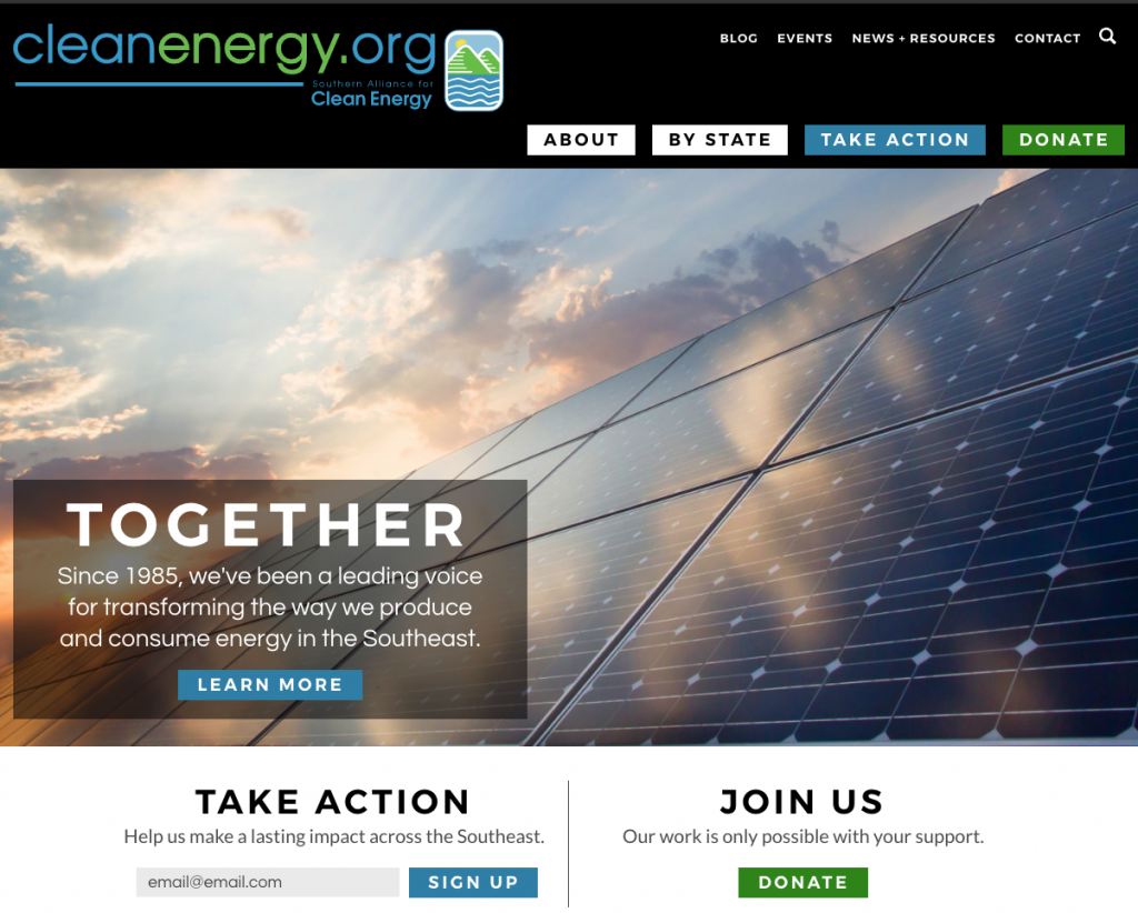 Southern Alliance for Clean Energy website design and development