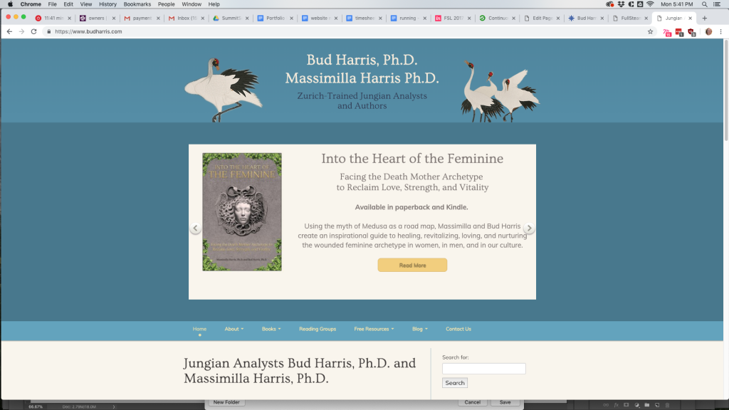 Custom website design and website management for Dr. Bud Harris Ph.D.