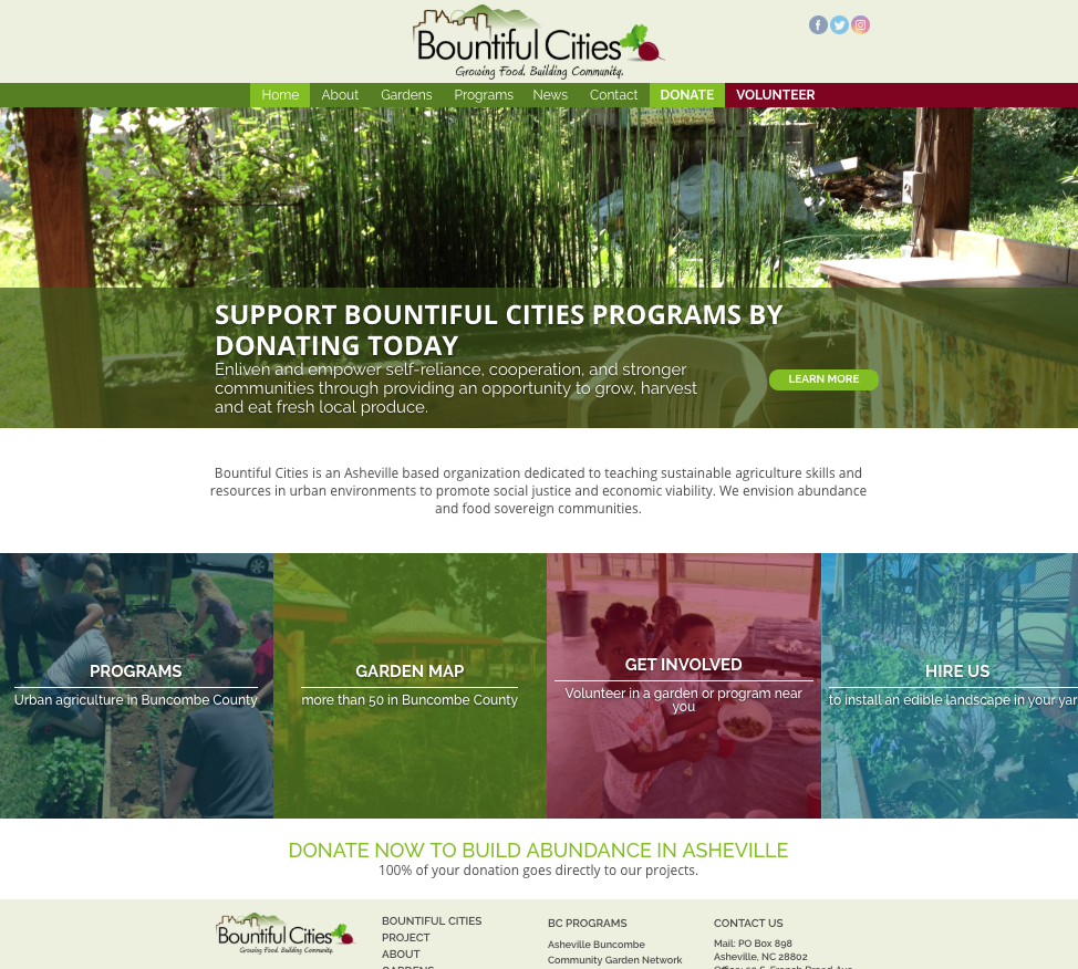 Custom website design and development for Bountiful Cities in Asheville NC
