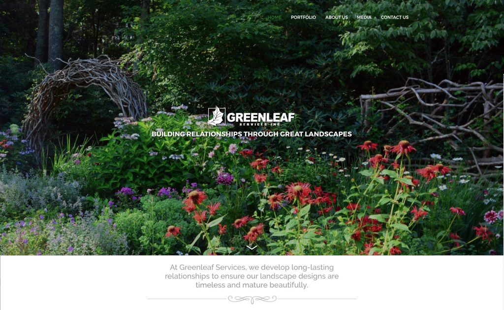 Custom website design for Greenleaf Services Landscaping company