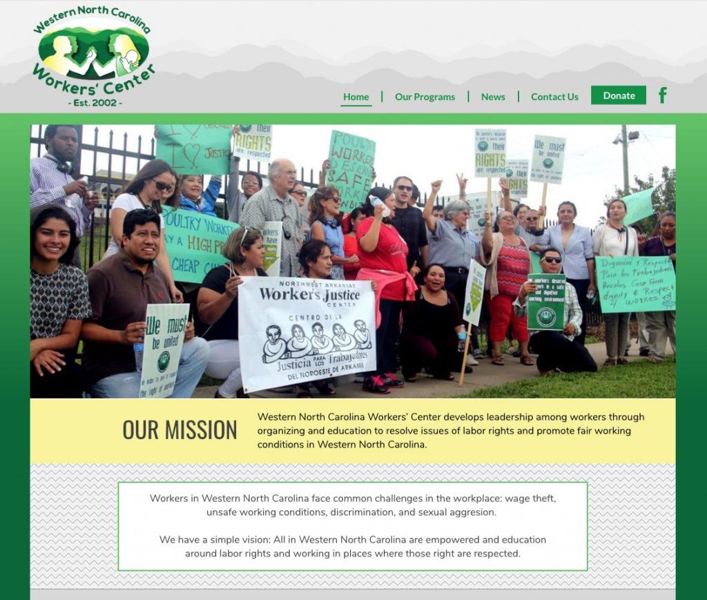 WNC Workers' Center - website design for nonprofit organization
