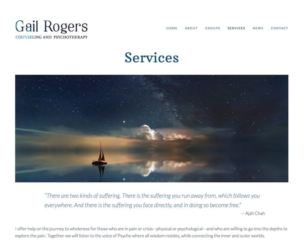 Gail Rogers Counseling and Psychotherapy website design